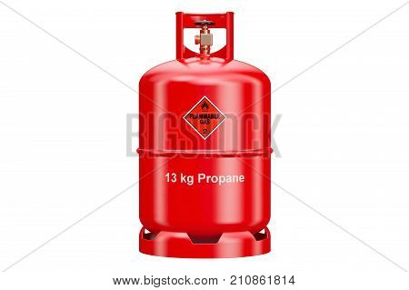 Red propane cylinder with compressed gas 3D rendering isolated on white background