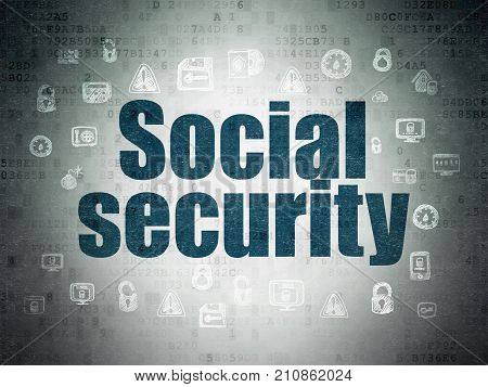 Protection concept: Painted blue text Social Security on Digital Data Paper background with  Hand Drawn Security Icons