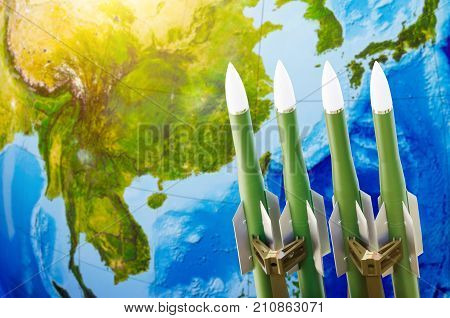 Race Of Weapons, Nuclear Weapons, The Threat Of War In The World. Rockets On The Background Of Asia-