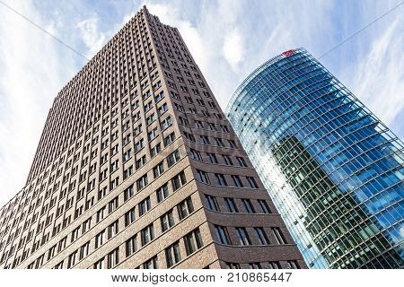 Kollhoff Tower And Bahn Tower On Potsdamer Platz In Berlin