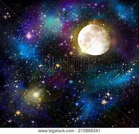 Stars in the night sky, blue background.Galaxy stars. Abstract space background. Full moon and star sky.
