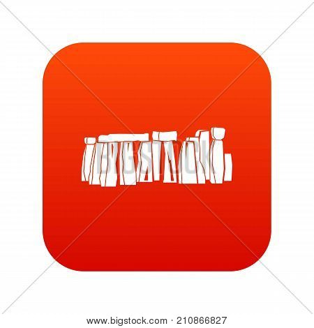 Stonehenge icon digital red for any design isolated on white vector illustration