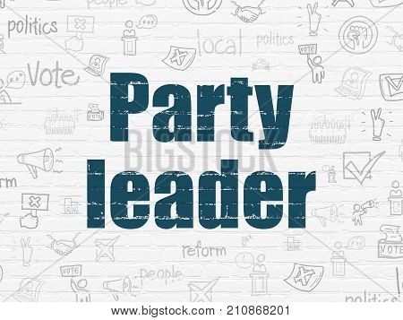 Political concept: Painted blue text Party Leader on White Brick wall background with  Hand Drawn Politics Icons