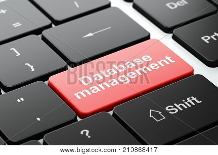 Database concept: computer keyboard with word Database Management, selected focus on enter button background, 3D rendering