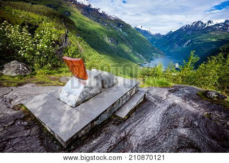 Geiranger fjord observation deck, Beautiful Nature Norway. It is a 15-kilometre (9.3 mi) long branch off of the Sunnylvsfjorden, which is a branch off of the Storfjorden (Great Fjord).