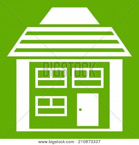 Two-storey house with sloping roof icon white isolated on green background. Vector illustration