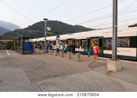 Train Station Of Lamone With People On Movement