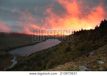 Sunset at Lake of the Clouds at Porcupine Mountain Wilderness Area. As seen from the Escarpment Trail on Cloud Peak