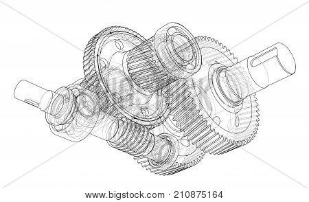 Gearbox sketch. Vector rendering of 3d. Wire-frame style