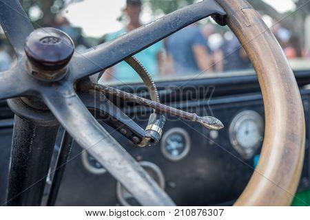 Vintage Dodge 1921 Car Interior - Wooden Steering Wheel And Dashboard