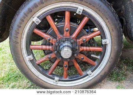 Wooden Wheel Of Vintage Old Car