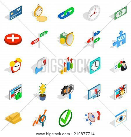Swap icons set. Isometric set of 25 swap vector icons for web isolated on white background