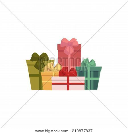 Group, heap, pile of colorful gift, present boxes, Christmas icon, decoration element, cartoon vector illustration on white background. Colorful group of presents, gift boxes, Christmas icon
