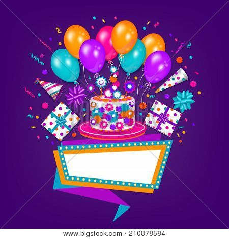 Happy Birthday greeting card, poster design with cake, present, party hat, balloon and blank banner board, vector illustration on dark background. Birthday greeting card, banner with space for text