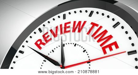 Black clock with Review time three-dimensional rendering 3D illustration