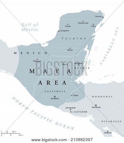Maya area political map. Mesoamerican civilization and high culture of pre-Columbian Americas. Capitals, national borders and most important ancient cities. Illustration with English labeling. Vector.