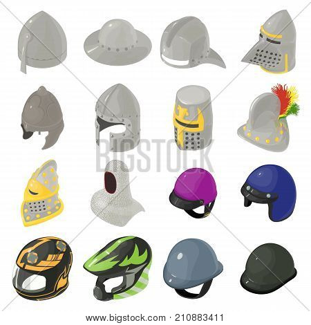 Helmet hat icons set. Isometric illustration of 16 helmet hat vector icons for web