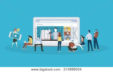 Flat design style web banner for online education, video tutorials, online training and courses. Vector illustration concept for web design, marketing, and print material.