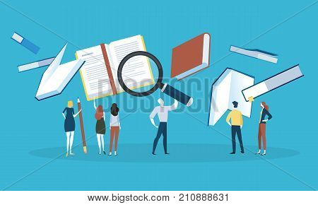 Flat design style web banner for know-how, search for a book, download literature, online book store. Vector illustration concept for web design, marketing, and print material.