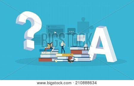Flat design style web banner for answer to all the questions, FAQ, video tutorials, online trainings. Vector illustration concept for web design, marketing, and print material.
