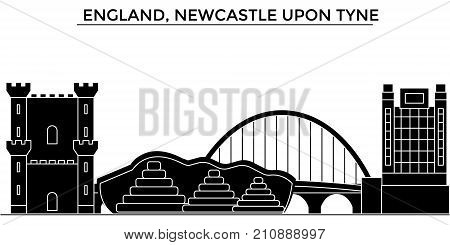 England, Newcastle Upon Tyne architecture vector city skyline, black cityscape with landmarks, isolated sights on background