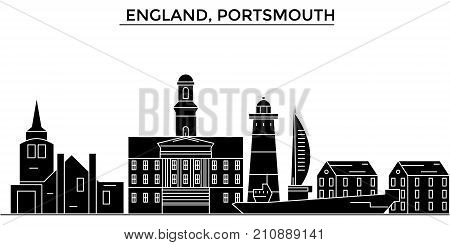 England, Portsmouth architecture vector city skyline, black cityscape with landmarks, isolated sights on background