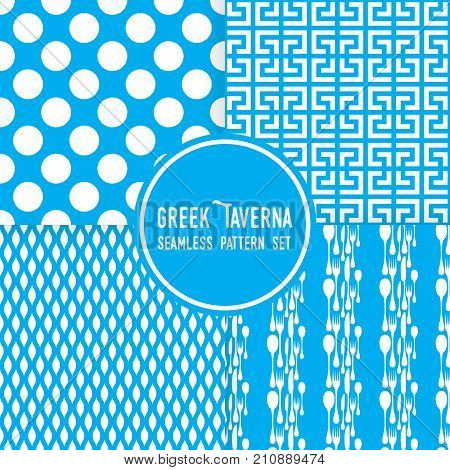 Blue greek tavern theme. Ornaments, dots and cutlery shapes. Seamless vector pattern background set.