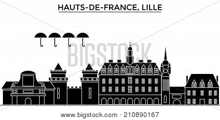 France, Hauts De France, Lille architecture vector city skyline, black cityscape with landmarks, isolated sights on background