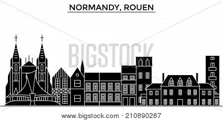 France, Normandy, Rouen architecture vector city skyline, black cityscape with landmarks, isolated sights on background