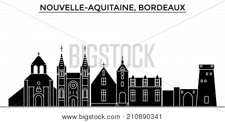 France, Nouvelle Aquitaine, Bordeaux architecture vector city skyline, black cityscape with landmarks, isolated sights on background