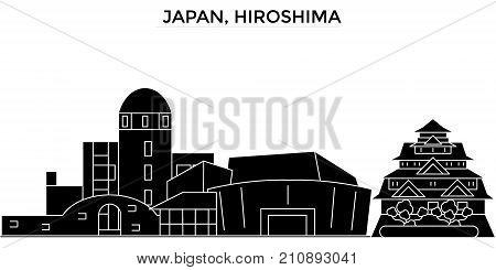 Japan, Hiroshima architecture vector city skyline, black cityscape with landmarks, isolated sights on background