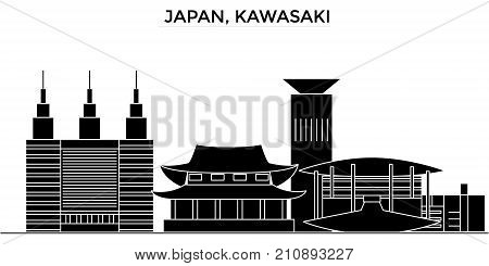 Japan, Kawasaki architecture vector city skyline, black cityscape with landmarks, isolated sights on background