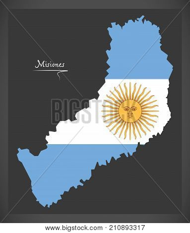 Misiones Map Of Argentina With Argentinian National Flag Illustration