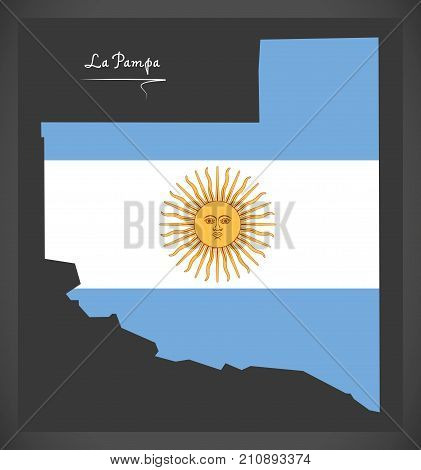 La Pampa Map Of Argentina With Argentinian National Flag Illustration