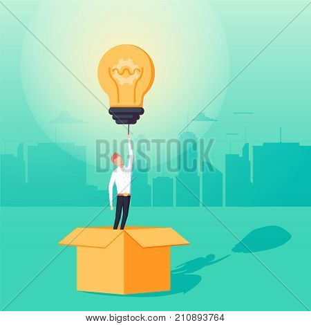 Think outside the box business concept vector with businessman having unieque creative idea for solution. Businessman flying with lightbulb. Eps10 vector illustration.