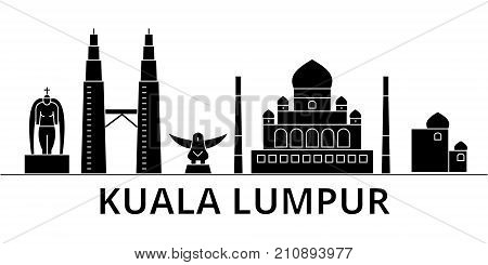Kuala Lumpur   Malaysia architecture vector city skyline, black cityscape with landmarks, isolated sights on background