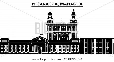 Nicaragua, Managua architecture vector city skyline, black cityscape with landmarks, isolated sights on background