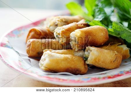 Fry spring roll asian appetizer food, Vietnamese food