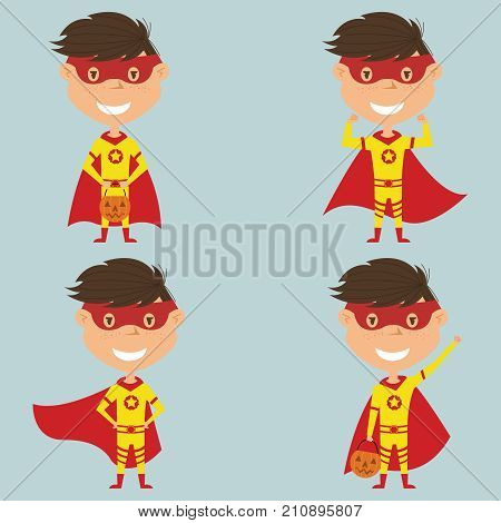 Vector set with Superhero boy in a mask and cloak. Teen with trendy costume for Halloween party. Child collect sweets.