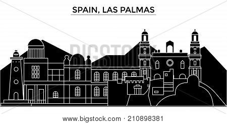 Spain, Las Palmas architecture vector city skyline, black cityscape with landmarks, isolated sights on background