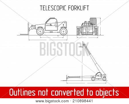 Telescopic handler with fork overall dimensions blueprint template