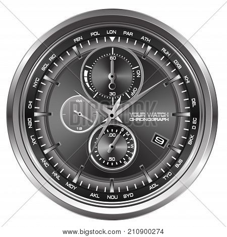 Watch chronograph face on white background vector illustration.