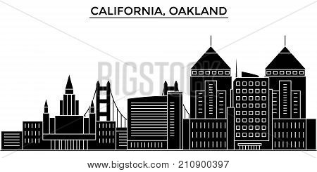 Usa, California Oakland architecture vector city skyline, black cityscape with landmarks, isolated sights on background
