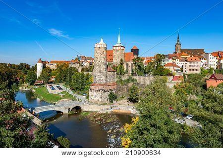Alte Wasserkunst and city center, Bautzen, Saxony, Germany