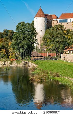 Burgwasserturm and Spree river in, Bautzen, Saxony, Germany