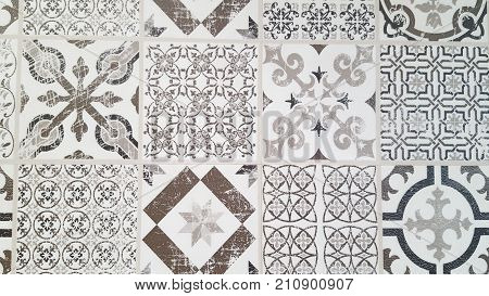 Vintage Tiles Intricate Details For A Decorative Look.  Ceramic Paint Floor, Ornament Collection Pat