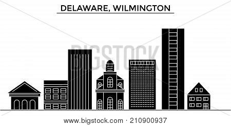 Usa, Delaware, Wilmington architecture vector city skyline, black cityscape with landmarks, isolated sights on background
