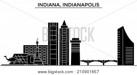 Usa, Indiana, Indianapolis  architecture vector city skyline, black cityscape with landmarks, isolated sights on background