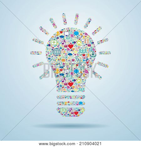Light bulb with social media icons. Idea innovation communication and promotion strategy in social media.