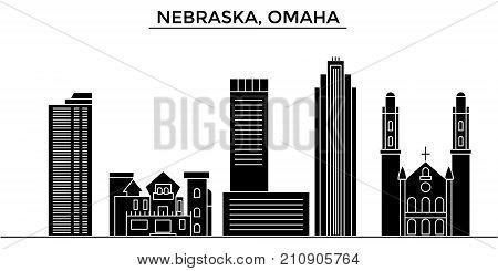 Usa, Nebraska, Omaha architecture vector city skyline, black cityscape with landmarks, isolated sights on background